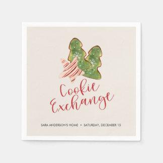 Christmas Cookie Exchange Trendy Watercolor Cookie Disposable Serviette