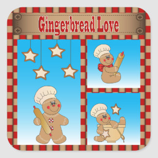 Christmas Cookie Gingerbread Men Square Sticker