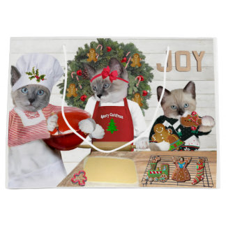 Christmas Cookie Kitten Large Gift Bag