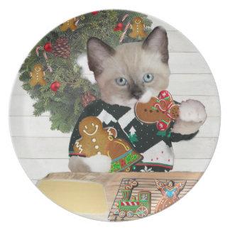 Christmas Cookie Kitten Plate
