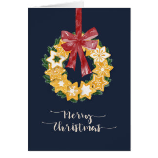 Christmas Cookie Wreath with Blue Grey Background Card