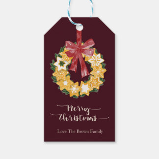 Christmas Cookie Wreath with Burgundy Background Gift Tags