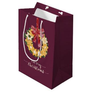 Christmas Cookie Wreath with Deep Plum Background Medium Gift Bag
