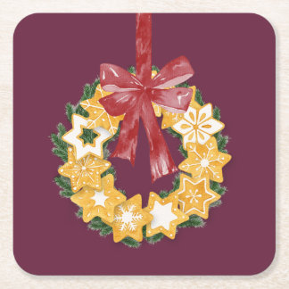 Christmas Cookie Wreath with Deep Plum Background Square Paper Coaster
