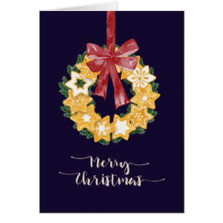 Christmas Cookie Wreath with Navy Blue Background Card