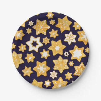 Christmas Cookie Wreath with Navy Blue Background Paper Plate