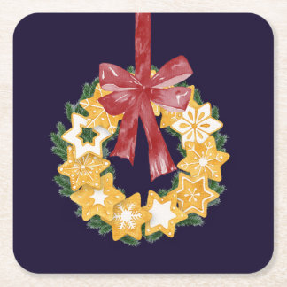 Christmas Cookie Wreath with Navy Blue Background Square Paper Coaster