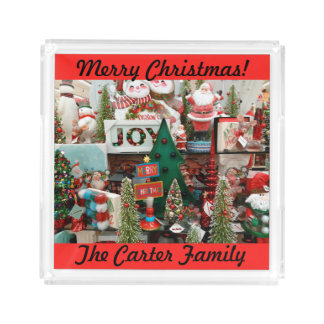 Christmas Cookies and Coco YOUR NAME Santa Tree Acrylic Tray