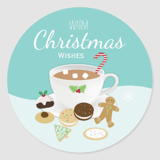 Christmas cookies and hot chocolate coffee holiday classic round sticker