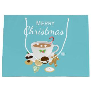 Christmas cookies and hot chocolate holiday large gift bag