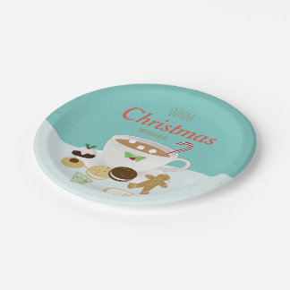 Christmas cookies and hot chocolate holiday paper plate