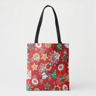 Christmas Cookies and Snowflakes on Red Tote Bag