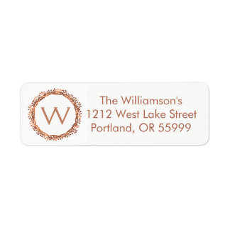 Christmas copper-look berry wreath monogram label return address label