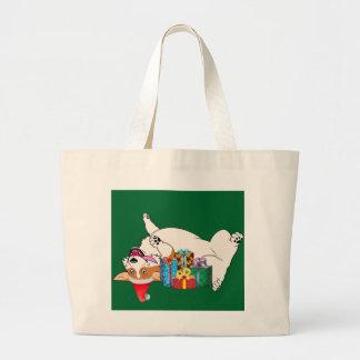Christmas Corgi Large Tote Bag
