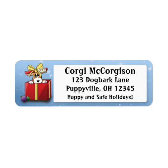 Christmas Corgi Puppy Address Labels