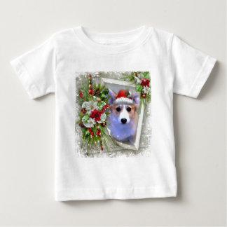 Christmas Corgi Puppy in White Frame Baby T-Shirt