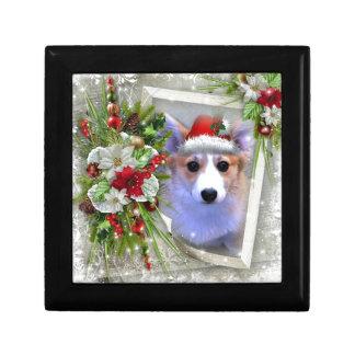 Christmas Corgi Puppy in White Frame Gift Box