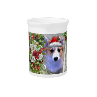 Christmas Corgi Puppy in White Frame Pitcher