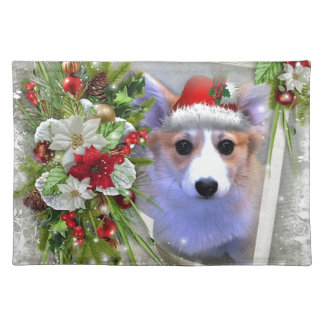 Christmas Corgi Puppy in White Frame Placemat