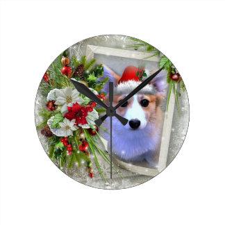 Christmas Corgi Puppy in White Frame Round Clock