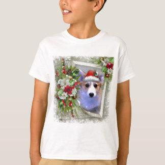 Christmas Corgi Puppy in White Frame T-Shirt