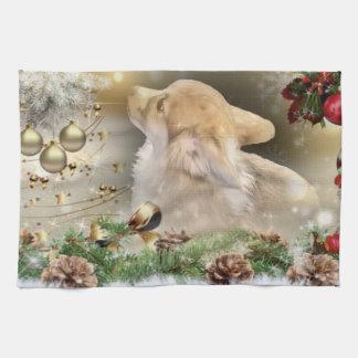 Christmas Corgi Puppy Tea Towel