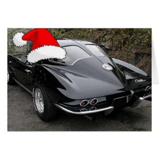 Christmas Corvette Split Window Card