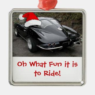 Christmas Corvette Split Window Metal Ornament
