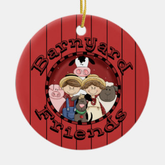Christmas Country Fun Animal Friends Ceramic Ornament