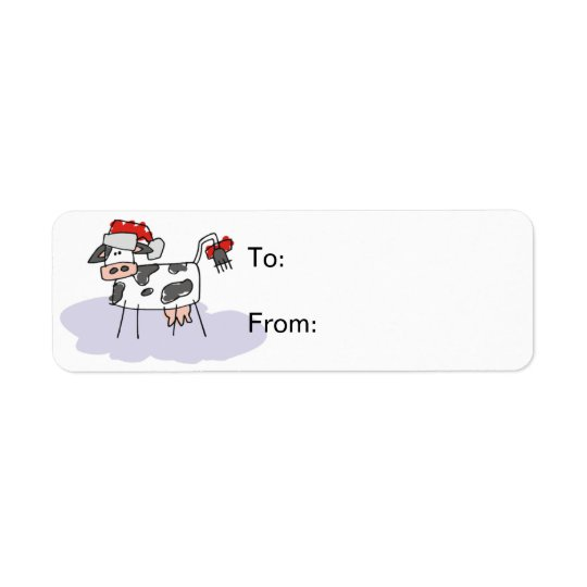 Christmas Cow Gift Tag Avery Label Return Address Label