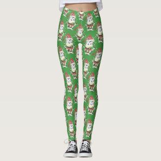 Christmas cow pattern green  leggings
