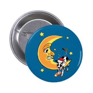 Christmas cow slumped over the moon pinback button