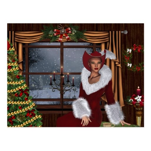 Christmas Cowgirl at Home Postcard