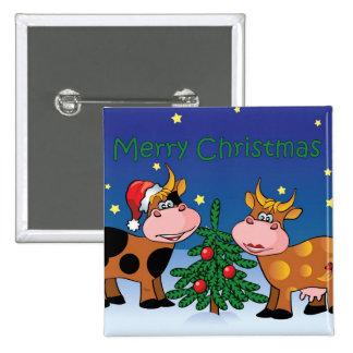 Christmas Cows 15 Cm Square Badge
