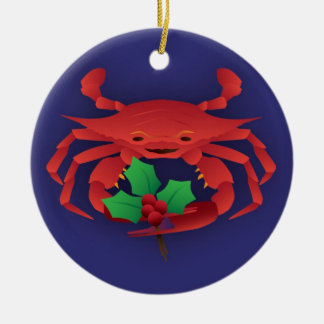 Christmas Crab with Holly Ceramic Ornament