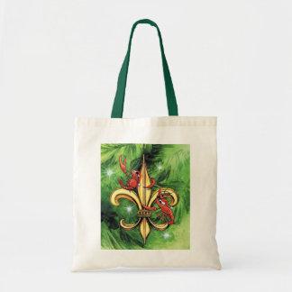 Christmas Crawfish & Fleur de lis Tote Bag