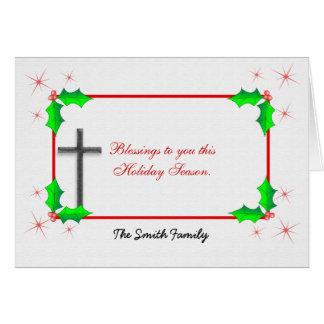 Christmas Cross Holly Illustration Greeting Card