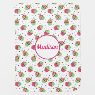 Christmas cupcake design in Christmas colors Baby Blanket