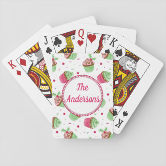 Christmas cupcake design in Christmas colors Playing Cards