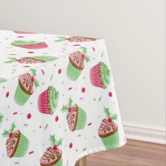 Christmas cupcake design in Christmas colors Tablecloth