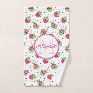 Christmas cupcake design, Name & Monogram Hand Towel