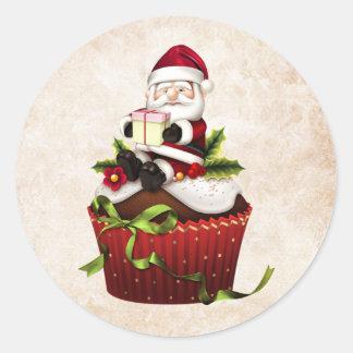 Christmas Cupcake Santa Sticker