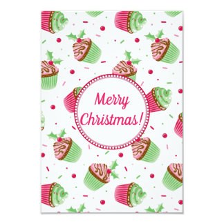 Christmas cupcakes design with Christmas greetings Card