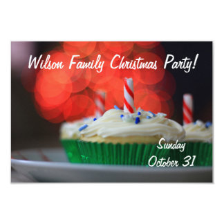 Christmas cupcakes party invitation