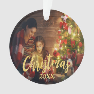 Christmas custom family photo with year gold ornament