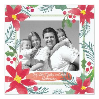 Christmas Custom Photo Card, Watercolor art Card