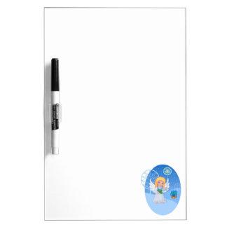 Christmas cute cartoon angel with blue star staff dry erase board