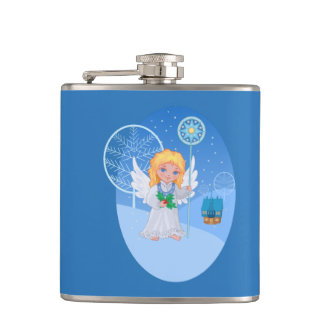 Christmas cute cartoon angel with blue star staff hip flask