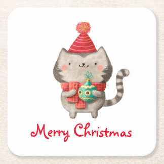 Christmas Cute Cat Square Paper Coaster