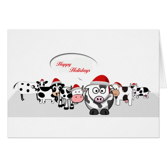 Christmas Cute Cows Happy Holidays Card